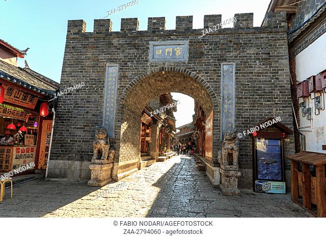 Lijiang, China: Close view of one of old gates of Lijiang Old Town used to access the city