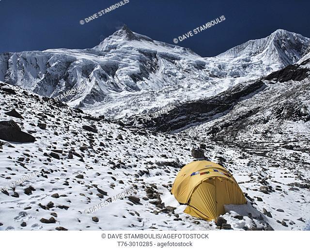 Manaslu, world's eighth highest peak (8,163 metres), seen from Manaslu Basecamp on the Manaslu Circuit Trail, Nepal