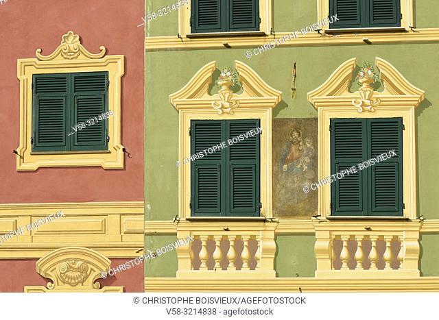 Italy, Liguria, Santa Margherita Ligure, Trompe l'oeil window