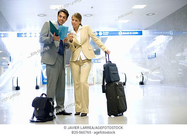 Businessmen. Passengers. Train station. Lleida, Cataluña. Spain