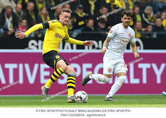 firo: 11.05.2019, football, 1.Bundesliga, season 2018/2019, BVB, Borussia Dortmund - Fortuna Dusseldorf 3: 2 Jacob BRUUN LARSEN, BVB left | usage worldwide