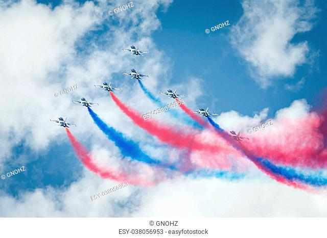 Singapore, 16 Feb 2016: Aerial display at Singapore Airshow 2016. T-50B Black Eagles fighter jets from the Republic of Korea Air Force (ROKAF)