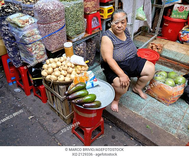 Selling vegetables at the Binh Tay Market, the Central Market of Cho Lon in District 6 of Ho Chi Minh City, Vietnam