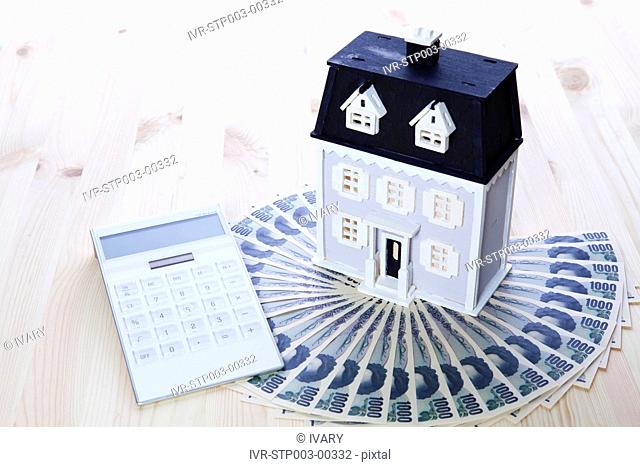 House Model With Currency And Calculator
