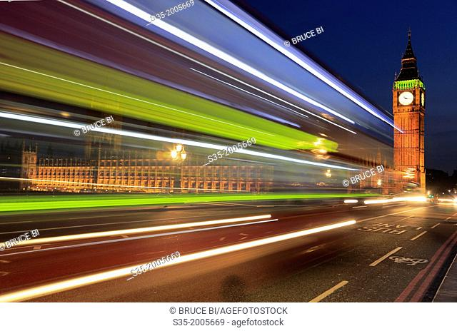 The night view of Big Ben with track of taillights in foreground. London. England. United Kingdom