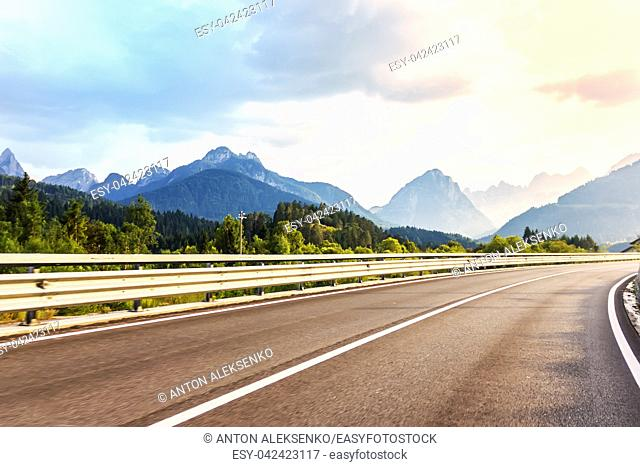 Upland road in the Austrian Mountains, summer view