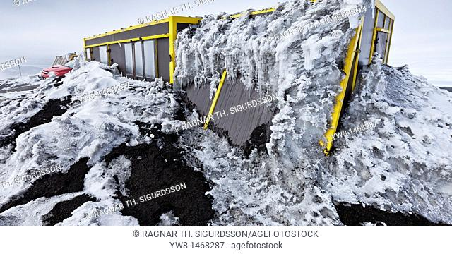 Research hut covered in ash fall and glacial Ice, Grimsvotn Eruption, Iceland  Hut is located on Mt Grimsfjall approx  4 kilometers from the crater  The...