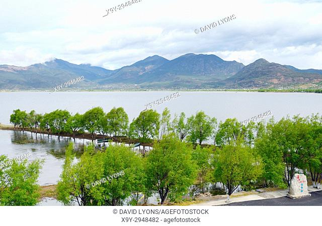 North over Lashi Lake at Lijiang Lashihai Plateau Wetland Nature Reserve, Yunnan. Important Naxi and Li ethnic people and major bird migration area