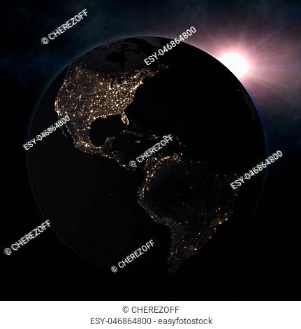planet earth in the starry background