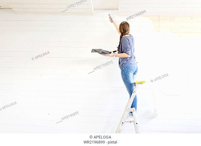 Rear view of woman painting wall with paint brush