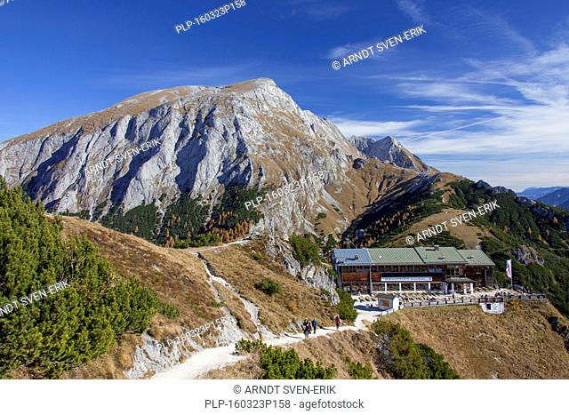 Jennerbahn cable car station at Mount Jenner in autumn, Berchtesgaden National Park, Bavaria, Germany