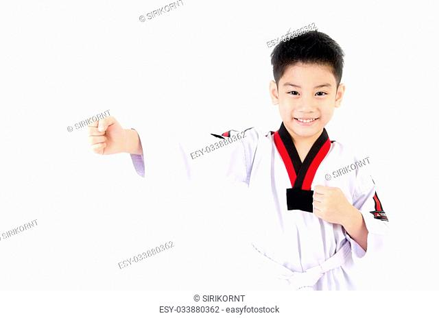 little asian smile boy in a Taekwondo uniform with a white sash on a white background