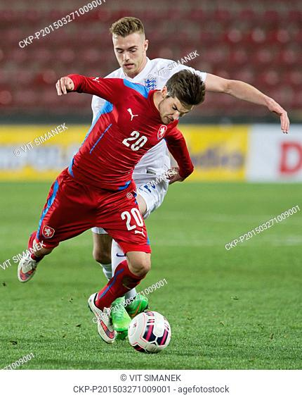 Michal Travnik of Czech Republic, left, and Calum Chambers of England fight for a ball during the under-21 football friendly match Czech Republic vs England in...