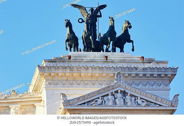 Bronze Liberty group sculpture by Paolo Bartolini on roof of Vittorio Emanuele monument, Piazza Venezia, Rome, Lazio, Italy, Europe