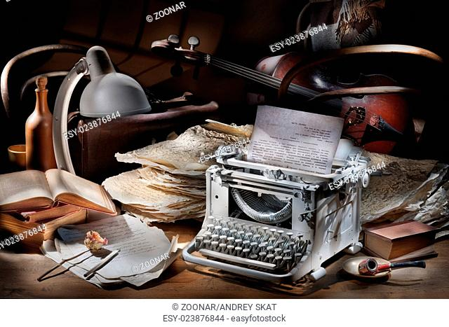 Still Life With Typing Machine And Cello