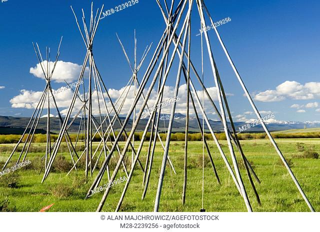 Tepee frames denoting and memorializing the Nez Perce camp at Big Hole National Battlefield Montana