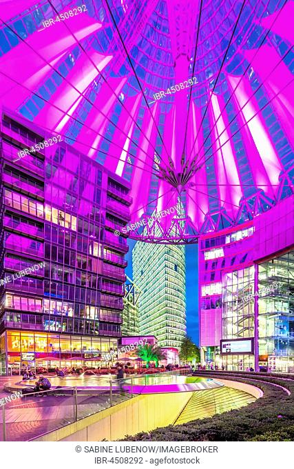 Interior view, illuminated Sony Center, Potsdamer Platz, Berlin, Germany
