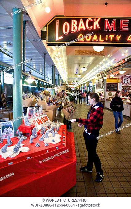 Seattle, Washington State, USA Pike Place Market Ground floor Interior stalls Neon Signs Date: 23 04 2008 Ref: ZB886-112654-0004 COMPULSORY CREDIT: World...
