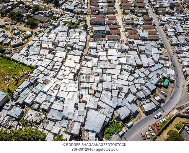 Imizamo Yethu Squatter Camp alongside affluent suburb of Hout Bay, Cape Town, South Africa
