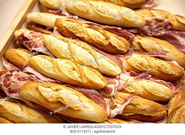 Ham sandwich, Catering in congress, Kursaal Congress Palace, Donostia, San Sebastian, Gipuzkoa, Basque Country, Spain, Europe