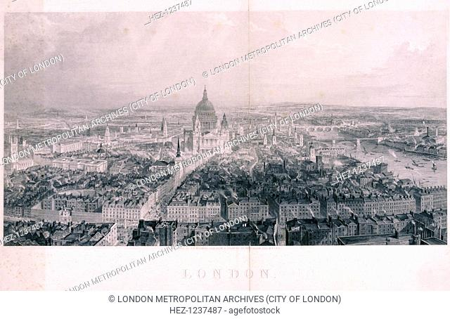 Panoramic view of London from the steeple of St Bride looking east, 1846; showing St Paul's Cathedral in the centre and the River Thames to the right
