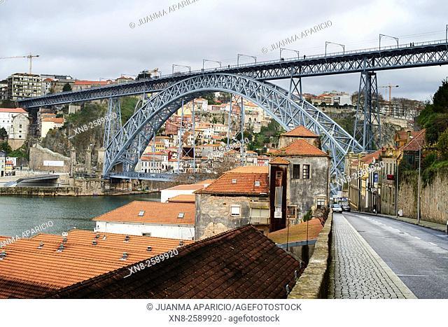View of the Bridge Luis I, Porto, Portugal, Europe