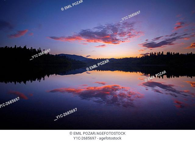 Serenity on peaceful lake in sunset time Lepenica lake in Croatia