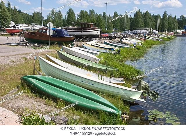 Boats at lake shore, Vesijärvi, Lahti, Finland