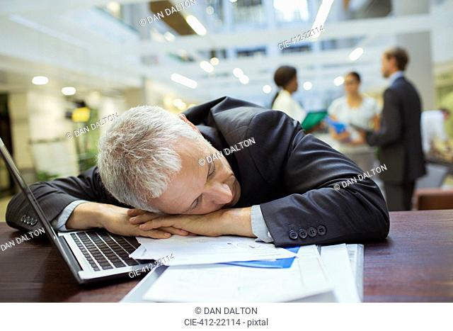 Businessman resting in office building