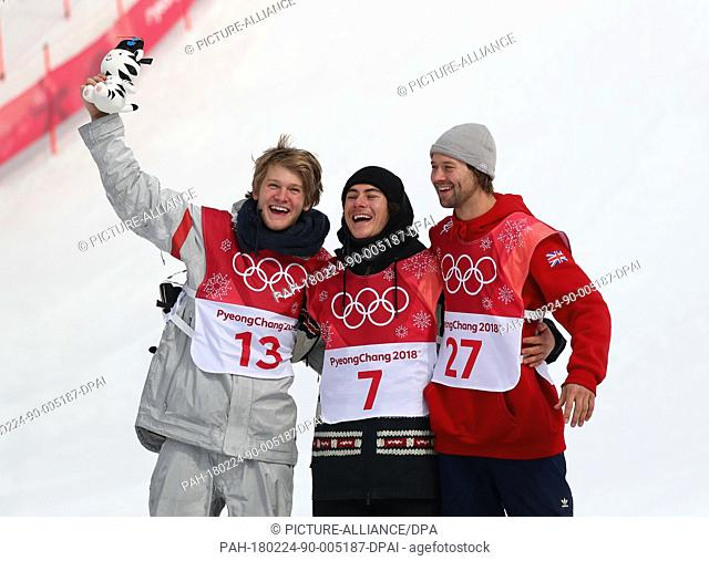 Gold medallist Sebastien Toutant from Canada (M) celebrates his victory together with silver medallist Kyle Mack from USA (L) and bronze medallist Billy Morgan...