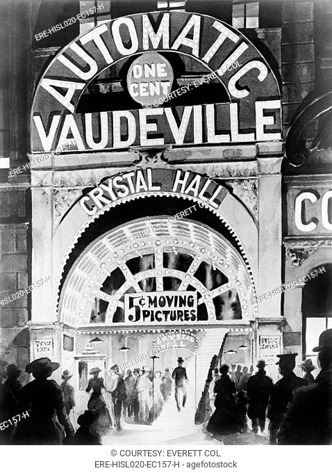 Adolph Zukhor's 1903 penny arcade, Crystal Hall near Union Square, New York City. Zukor had actors recite dialogue in synchronization with short silent movies