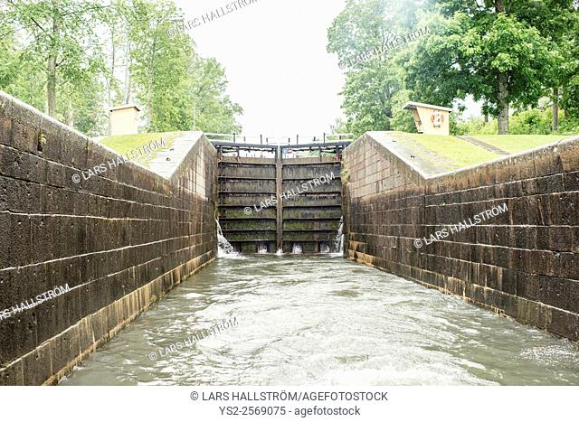 Sea lock at Gota Canal in Sweden. Water and floodgate doors