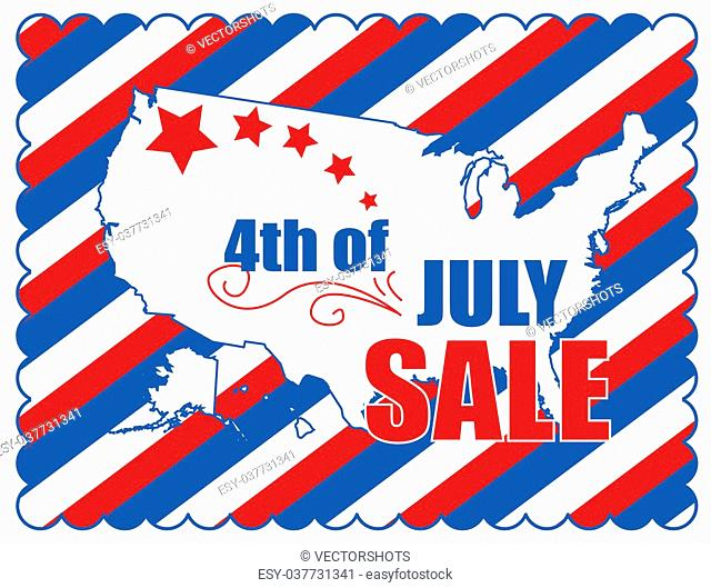 Drawing Art of Cartoon 4th of July Sale Coupon Banner Vector Illustration