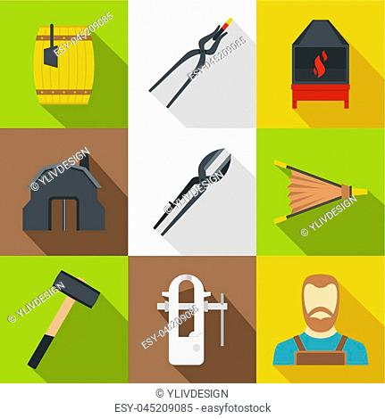 Blacksmith things icons set. Flat set of 9 blacksmith things icons for web with long shadow