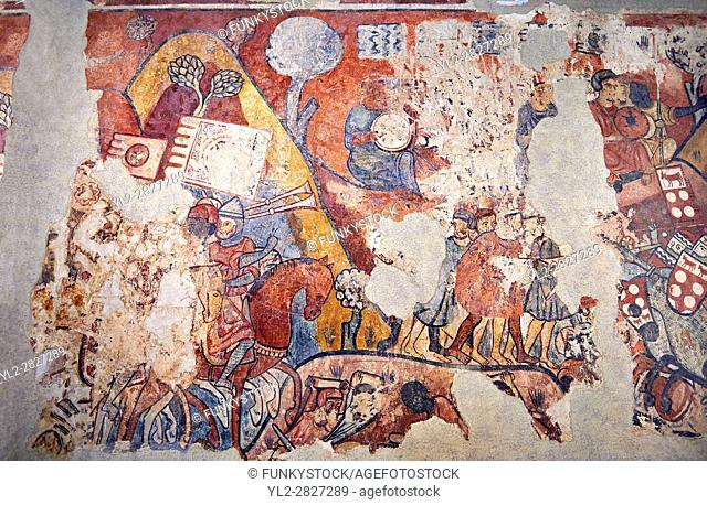 "Gothic fresco mural painting """"THE CONQUEST OF MAJORCA"""" 1285-1290. National Museum of Catalan Art, Barcelona, Spain, inv no: 071447-CJT"