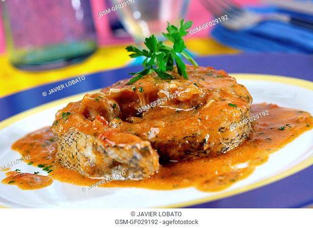 Hake cooked Catalan-style