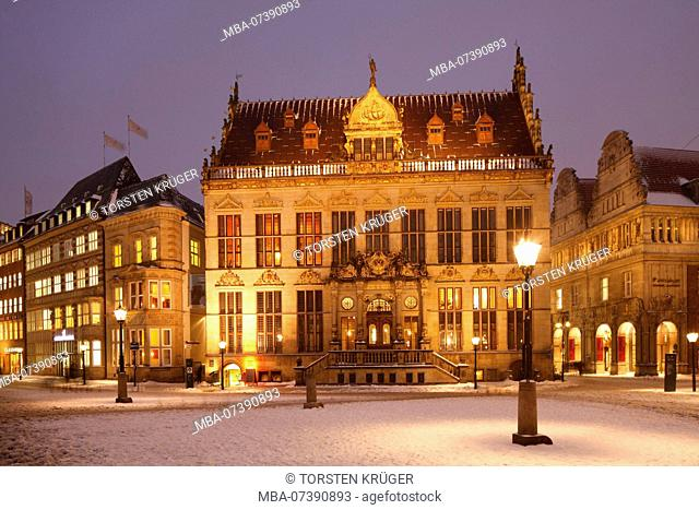 Schütting house with snow at dusk, Bremen, Germany, Europe