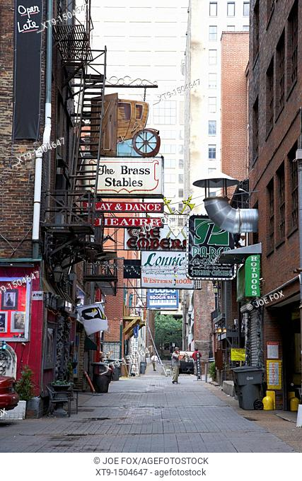 bars restaurants and theatres in printers alley Nashville Tennessee USA