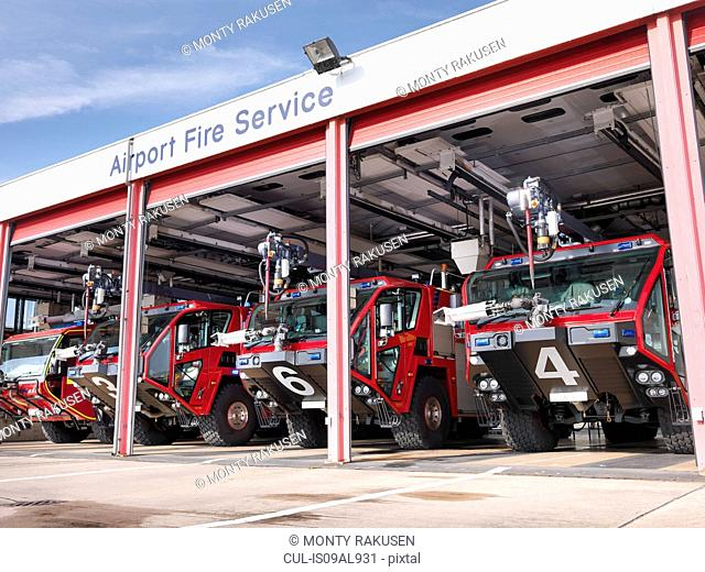 Fire engines in airport fire station