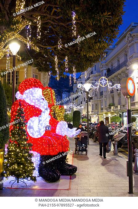 Monte Carlo, Monaco - December 12, 2017: Christmas Atmosphere in Monaco, Noel a Monaco | usage worldwide. - Monte Carlo/Monaco