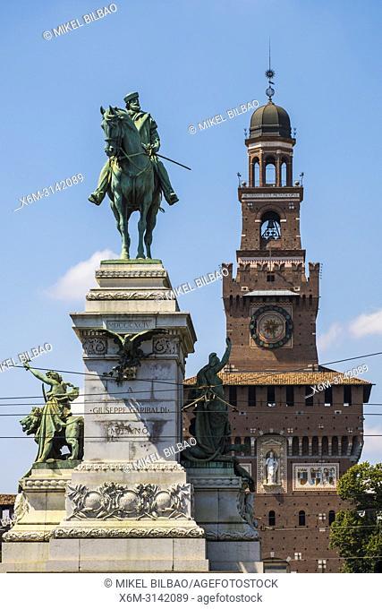 The Statue of Giuseppe Garibaldi and the Sforza Castle. Milan, Lombardy, Italy, Europe