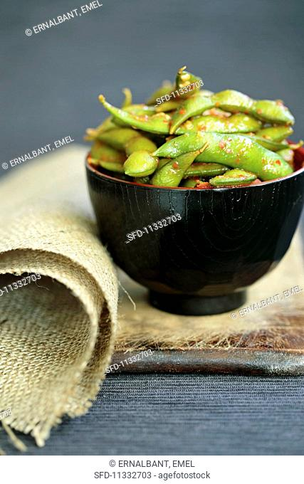 Soya beans in a spicy chilli sauce