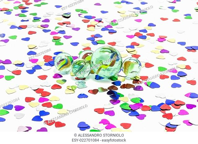 Toy marbles on white background