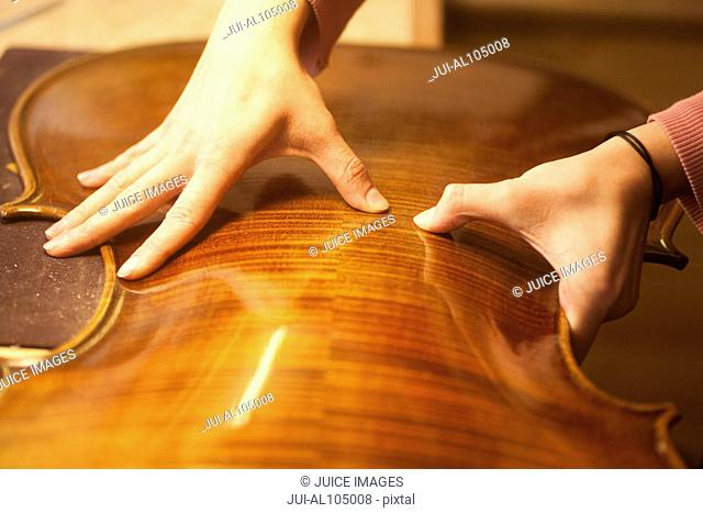 Close-up of violin maker working on cello