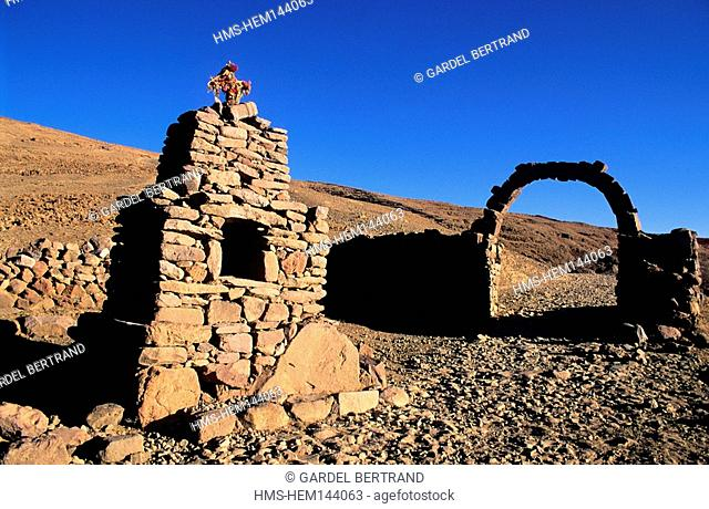 Peru, Puno Department, Lake Titicaca, a furnace bridge for the offerings at Amantani island