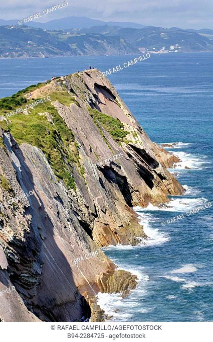 'Flysch' rock strata, Zumaia, Guipuzcoa, Basque Country, Spain