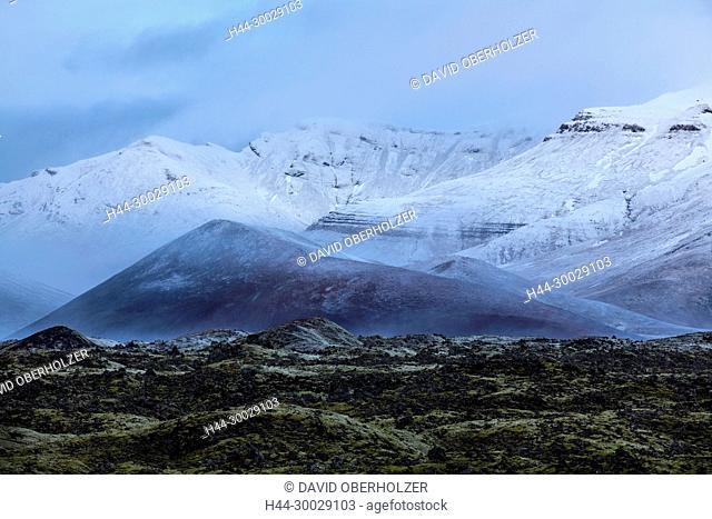 Mountains, Berserkjahraun, Europe, Island, sceneries, lava, light mood, snow, Snaefellsnes, volcano, volcano island, winter