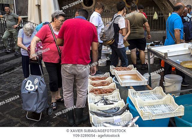 Pescheria, Fish Market, Alonzo di Benedetto square, Catania, Sicily, Italy