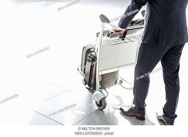 Businessman with baggage cart at the airport