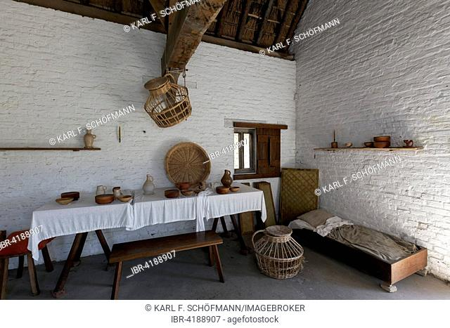 Medieval living room of a fisherman's house, Walraversijde, Raversijde or Raversyde, Oostende, West Flanders, Belgium